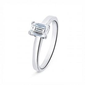 Anillo diamante talla esmeralda oro blanco 18k clásico y femenino