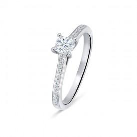 "Anillo ""Melody"" oro blanco diamante central talla princesa"