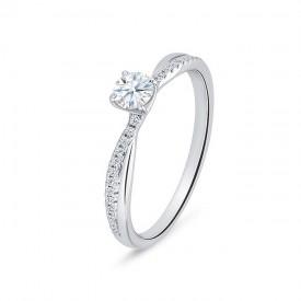 """Anillo """"Nash"""" 0.20 cts. oro blanco diamantes y brillantes pequeños"""