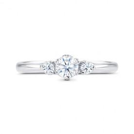 "Anillo ""SHALOSH"" 3 Diamantes 0.32 cts oro blanco de 18k"