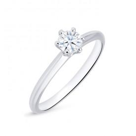 """Anillo Solitario """"Hana S"""" Oro Blanco 18k con Diamante"""
