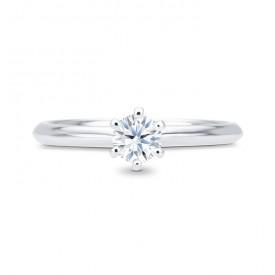 """Anillo Solitario """"Hana S"""" clásico en Oro Blanco con Diamante central"""