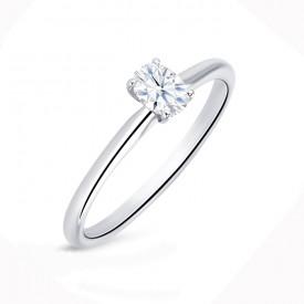 """Anillo Solitario """"Oval S"""" Oro Blanco 18k y diamante"""
