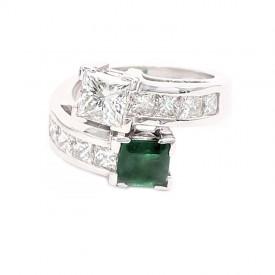 anillo tu y yo esmeralda