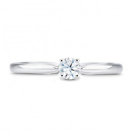 """Anillo """"CLASICO"""" en oro blanco y diamante en Garras"""