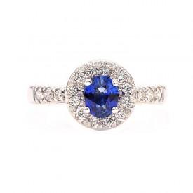 Anillo zafiro azul y brillantes Joyería