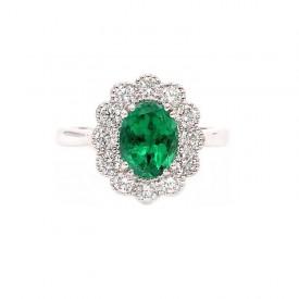anillo esmeralda y brillantes