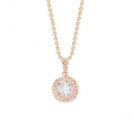 """Colgante """"Rose Suntory"""" en oro rosa de 18K con Diamante central y orla  - CR 21 OR"""