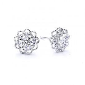 pendientes diamantes flor
