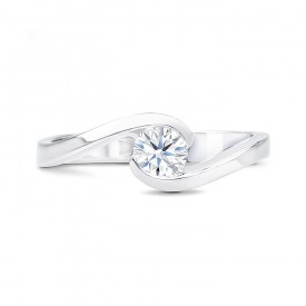 """Anillo """"Umi S"""" Oro Blanco y Diamante de talla brillante"""