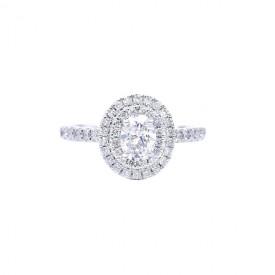 """Sortija """"Sakura"""" oro blanco 18k y diamantes"""
