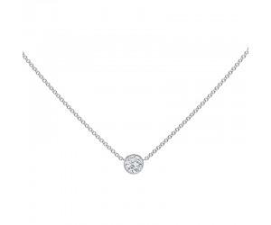 collar diamante oro blanco