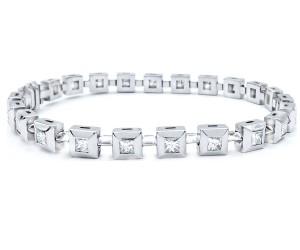 Pulseras con diamantes talla princesa
