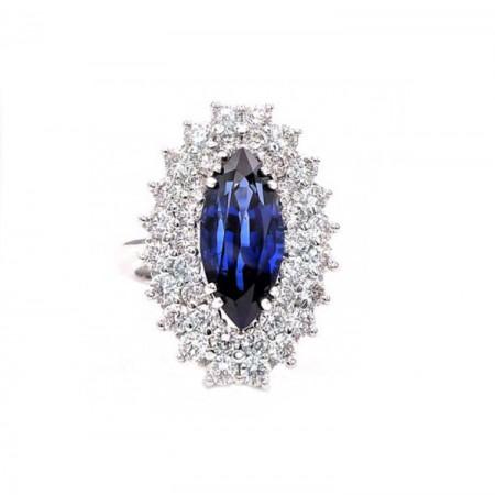 anillo zafiro marquise y brillantes