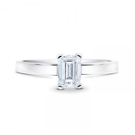 anillo diamante oro blanco talla esmeralda SC E 21