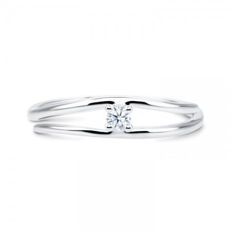 anillo solitario oro blanco diamante - fez SV8