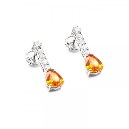 pendientes zafiros orange y brillantes