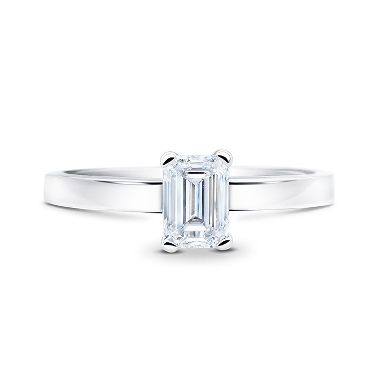 """Anillo de oro con un diamante de talla esmeralda """"SImplicity"""""""
