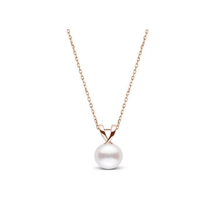 Colgante en oro rosa de 18K y perla australiana
