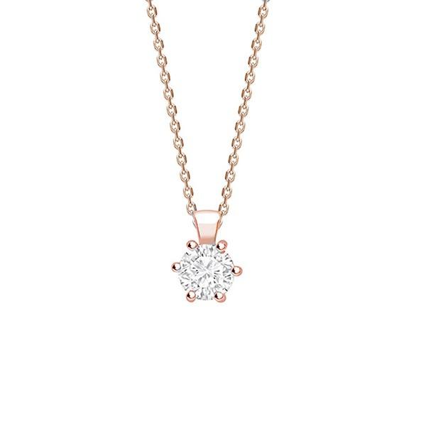 "Colgante 6 garras Brillante oro rosa ""Rose Hana"" CR 6 OR"