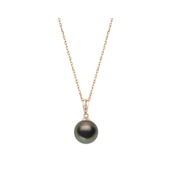 Colgante en Oro Rosa con Perla Negra y diamante de 1,8mm