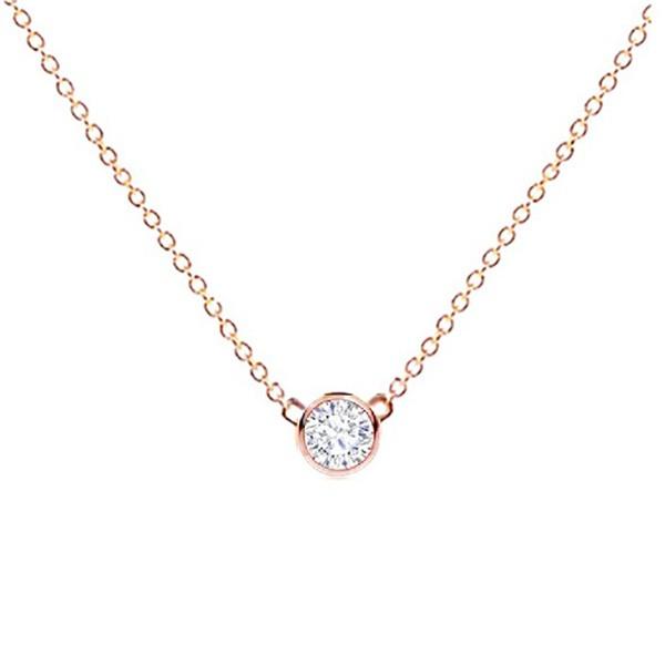 Colgante Oro rosa Diamante chatón - CR 18 OR