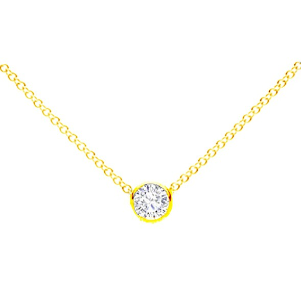 """Collar chatón Brillante oro 18K """" Moscú """"  - CR 19 OA"""