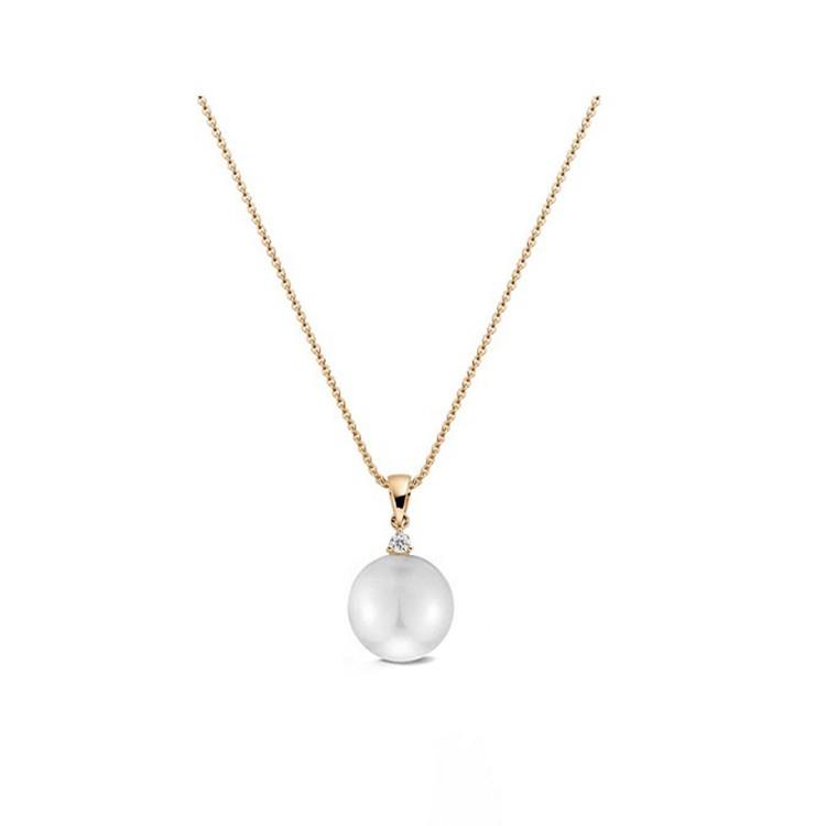 Collar de oro rosa con diamante de 0,05 ct y Perla