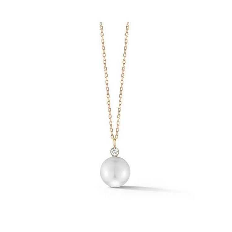 Collar de oro rosa con Perla australiana y diamante