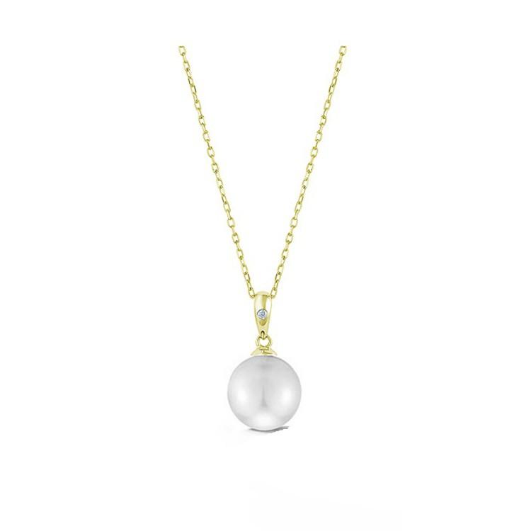 Gargantilla en Oro Amarillo con Perla redonda y Diamante