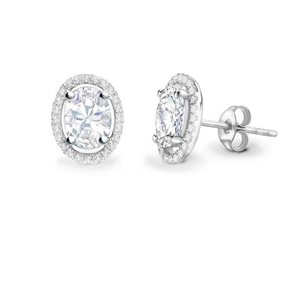Pendientes Talla Oval Diamante con orla -PR 19