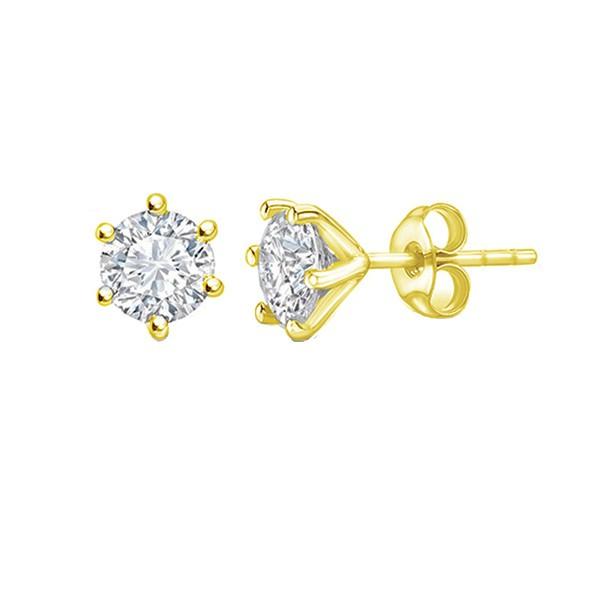 Pendientes oro amarillo con brillantes en garra elegantes y sencillos - PR 9 OA