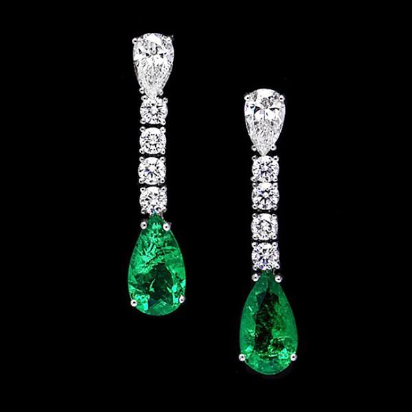 Pendientes para novia con Diamantes y Esmeraldas - PC 57