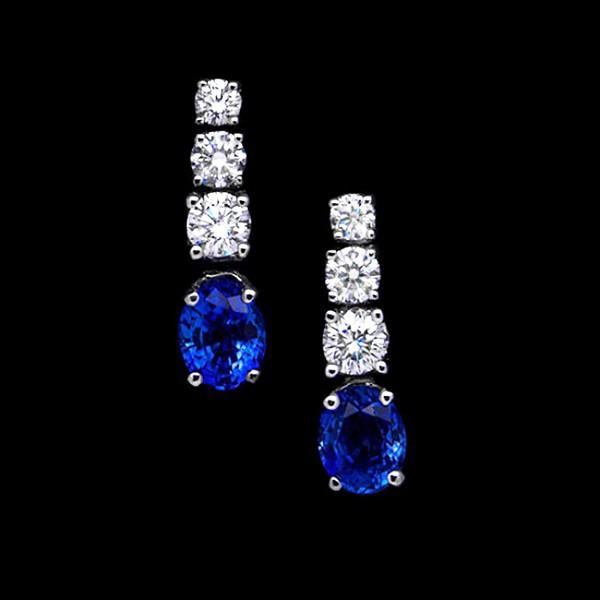 Pendientes Novia con zafiros azules y brillantes- PI 71/3