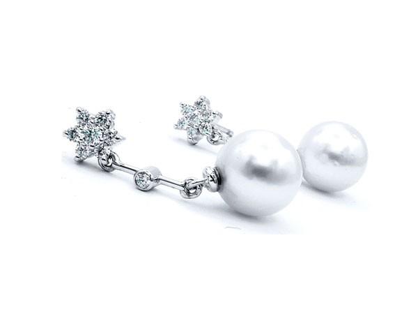 pendientes perlas diamantes