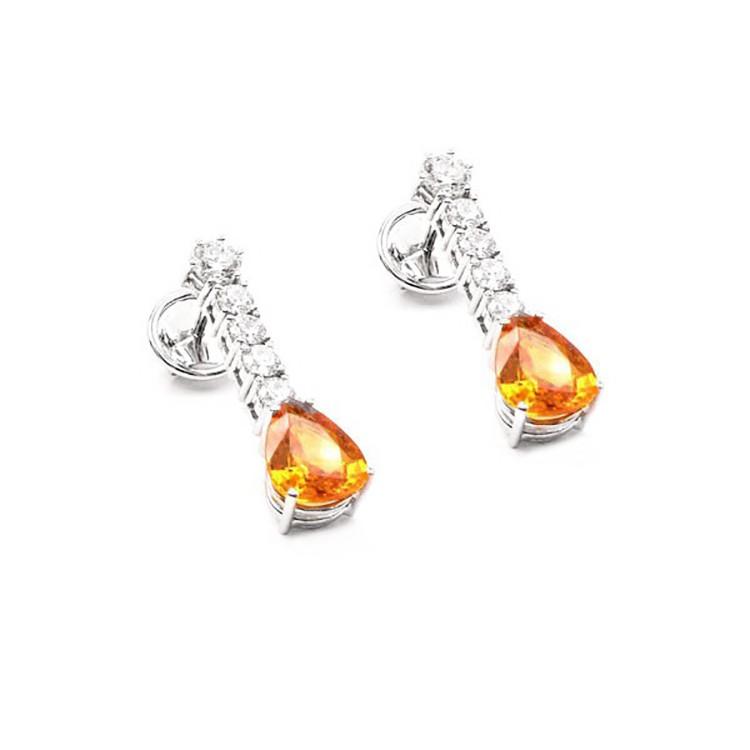 Pendientes Zafiro Orange y Brillante - PC 56