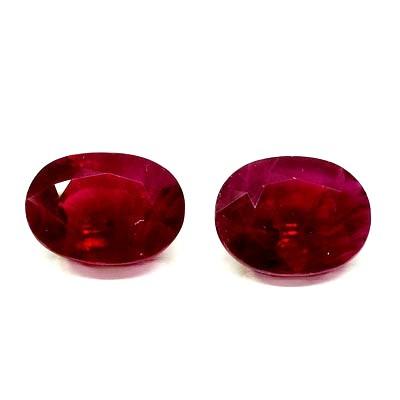 Rubies Pareja  talla oval - 8,41 cts