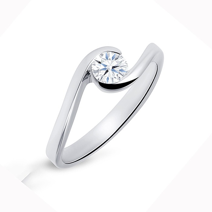 """Solitario """"Umi S"""" Oro Blanco y Diamante"""