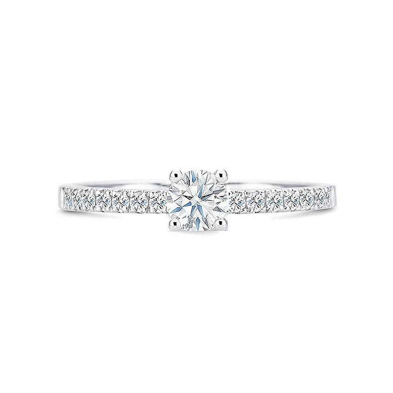 """Anillo oro de compromiso con diamantes, elegante y femenino con brillantes en el brazo """"Amore"""""""