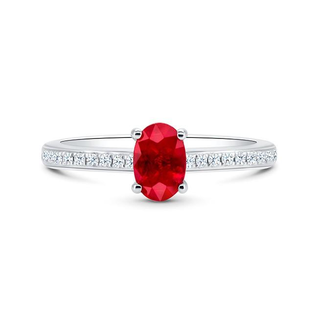 "Sortija ""Red Chandra"" Rubí Oval Oro y Diamantes"