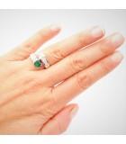 anillo tu y yo esmeralda mano