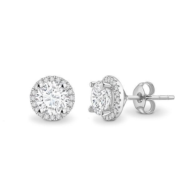 """Pendientes de oro blanco y diamantes """"Gardenia"""" estilo clásico con orla - PR 27"""