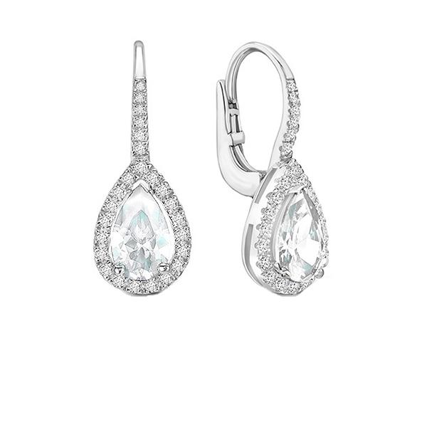 Pendientes largos con Diamante Perilla y brillantes - PR 18