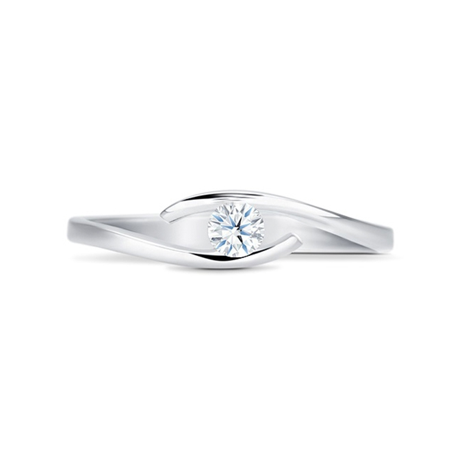 "Anillo ""Hikari-B"" moderno 0.10 cts oro blanco y diamante"