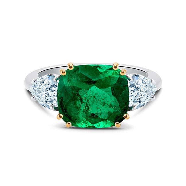 Sortija Esmeralda Diamantes Corazón - SI 201