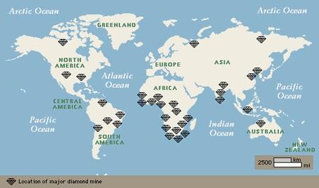 Mapa de Depósitos diamantíferos en el mundo