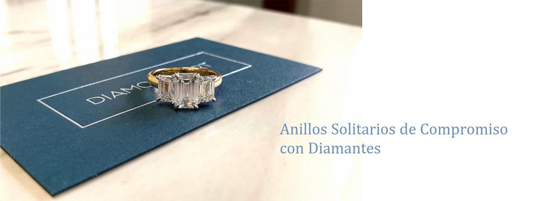 anillos solitarios de compromiso y diamantes